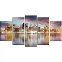DesignArt 'New York Skyline at Sunrise with Reflection.' 5 ...