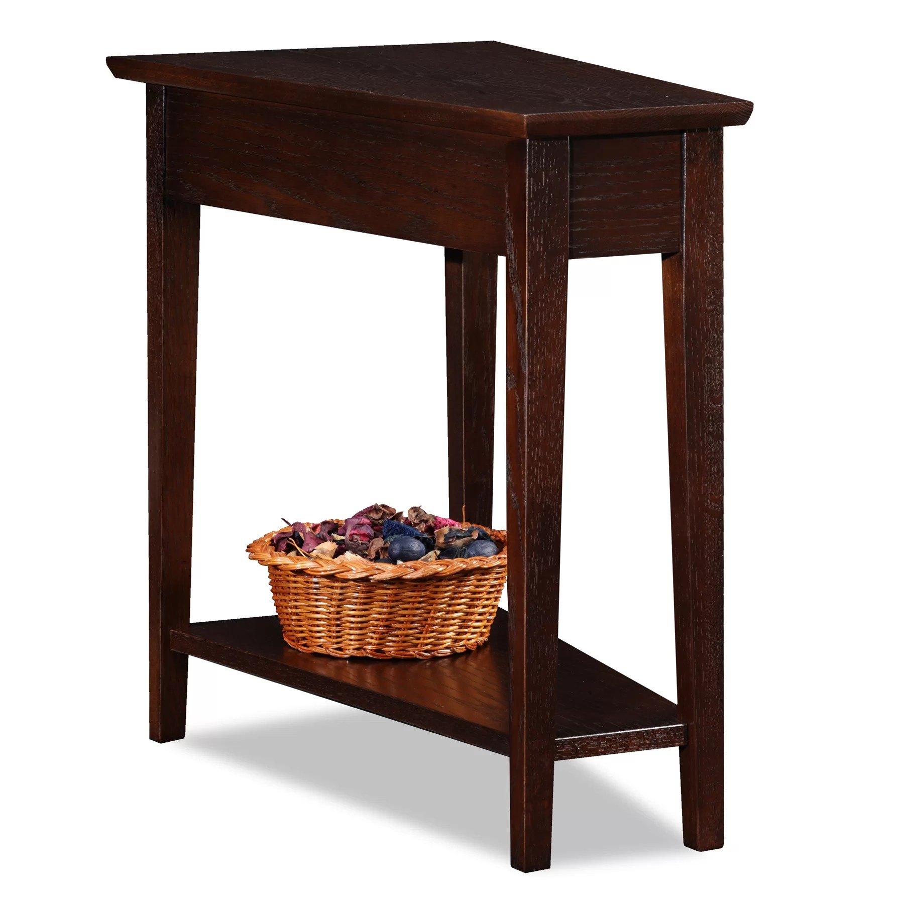 side table for recliner chair anywhere slipcover leick chocolate oak end and reviews wayfair