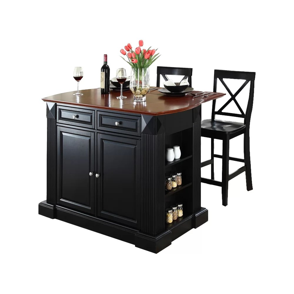 Breakwater Bay Plumeria 3 Piece Kitchen Island Set