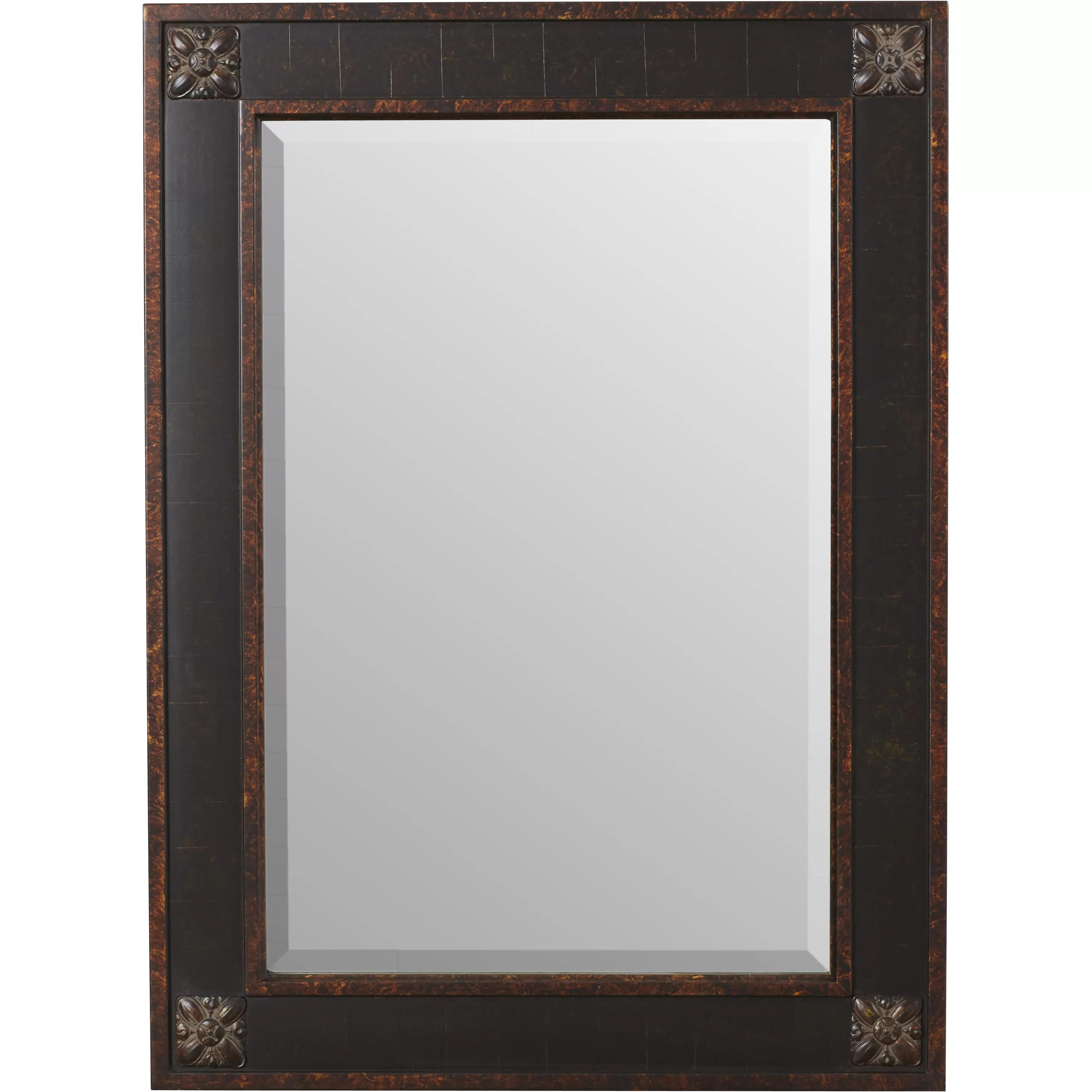 Rosalind Wheeler Rectangular Beveled Vanity Mirror in Distressed Walnut Brown  Reviews  Wayfair