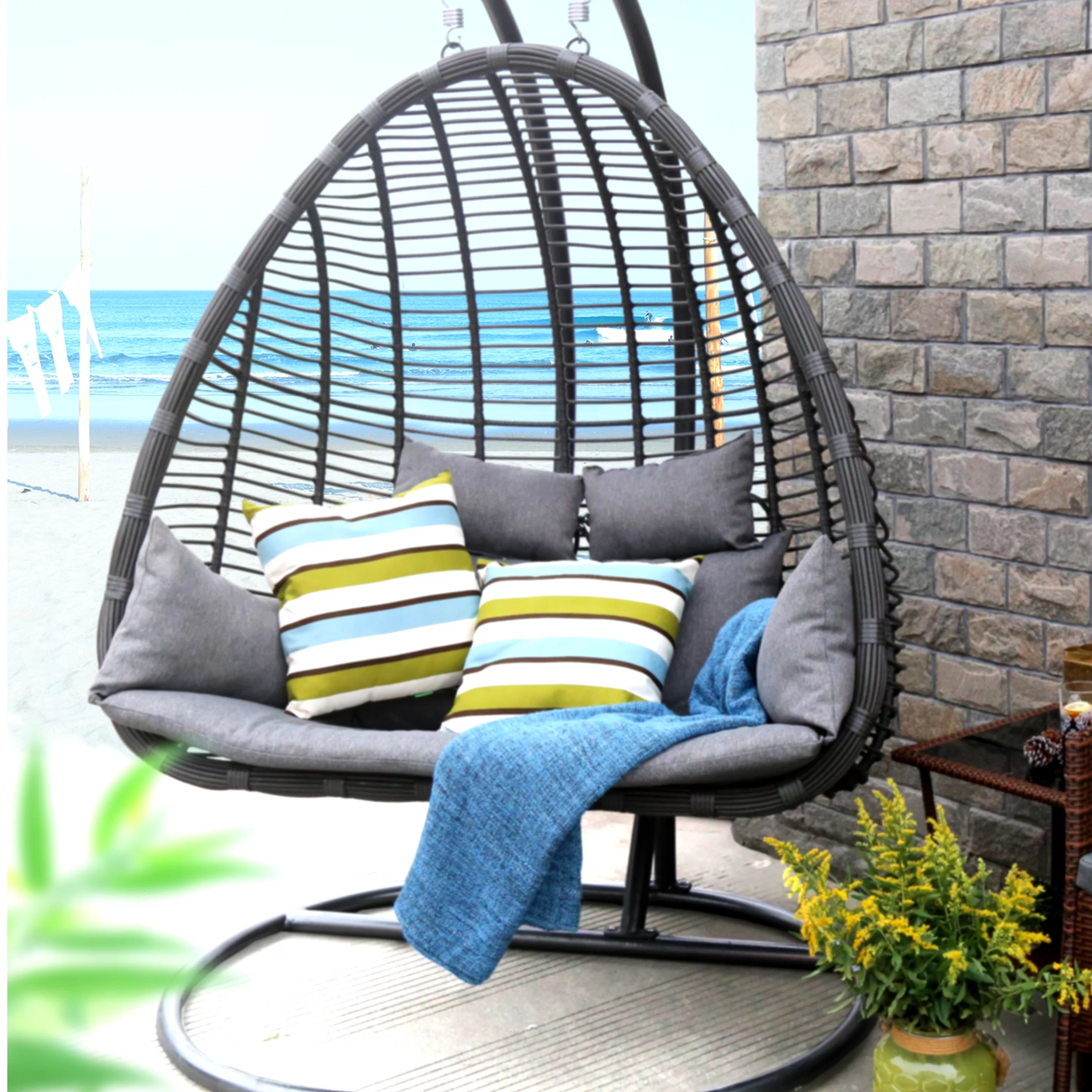 swing chair with stand outdoor queen anne legs replacement baner garden hammock and reviews wayfair ca