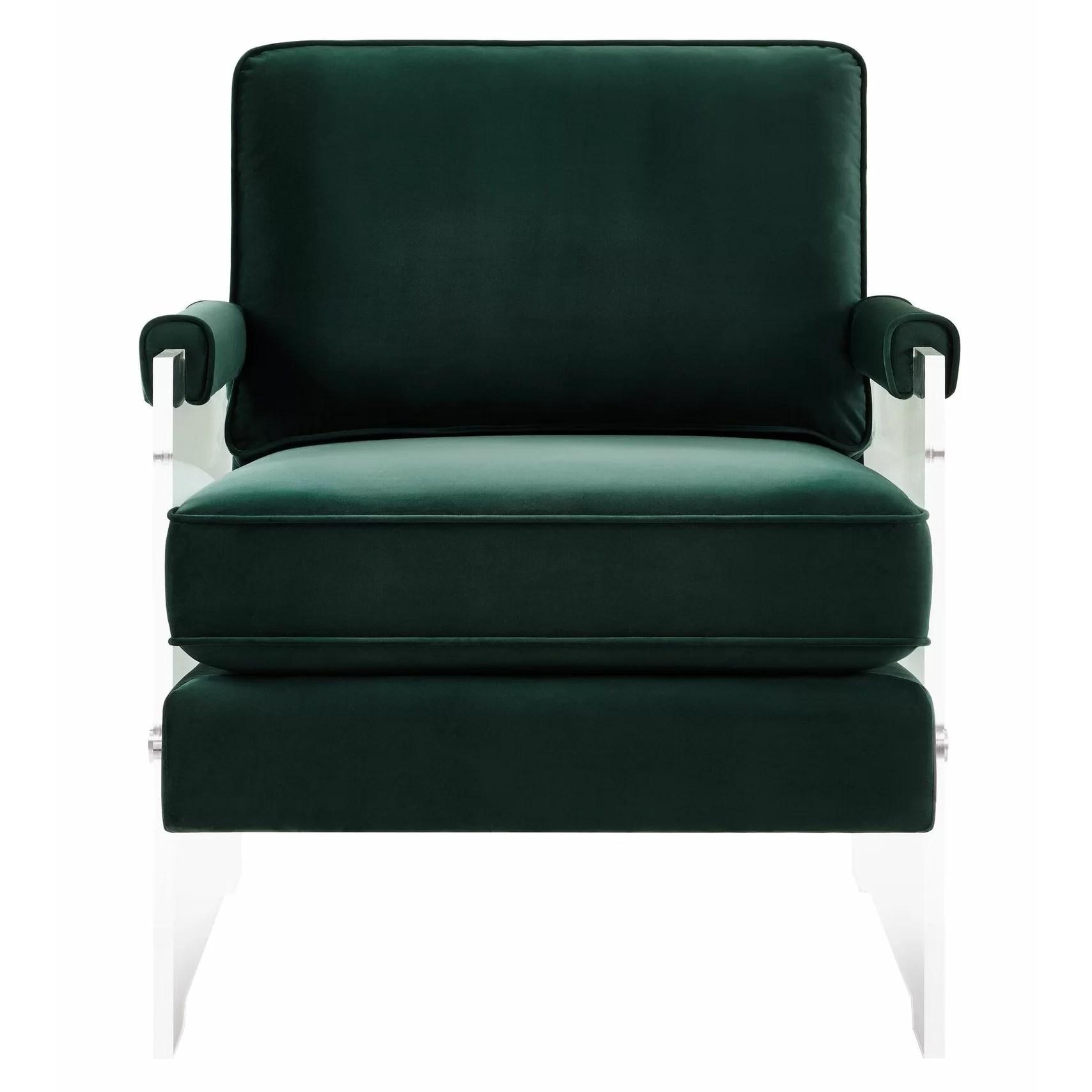 acrylic arm chair bean bag with built in blanket and pillow mercer41 dore velvet lucite wayfair