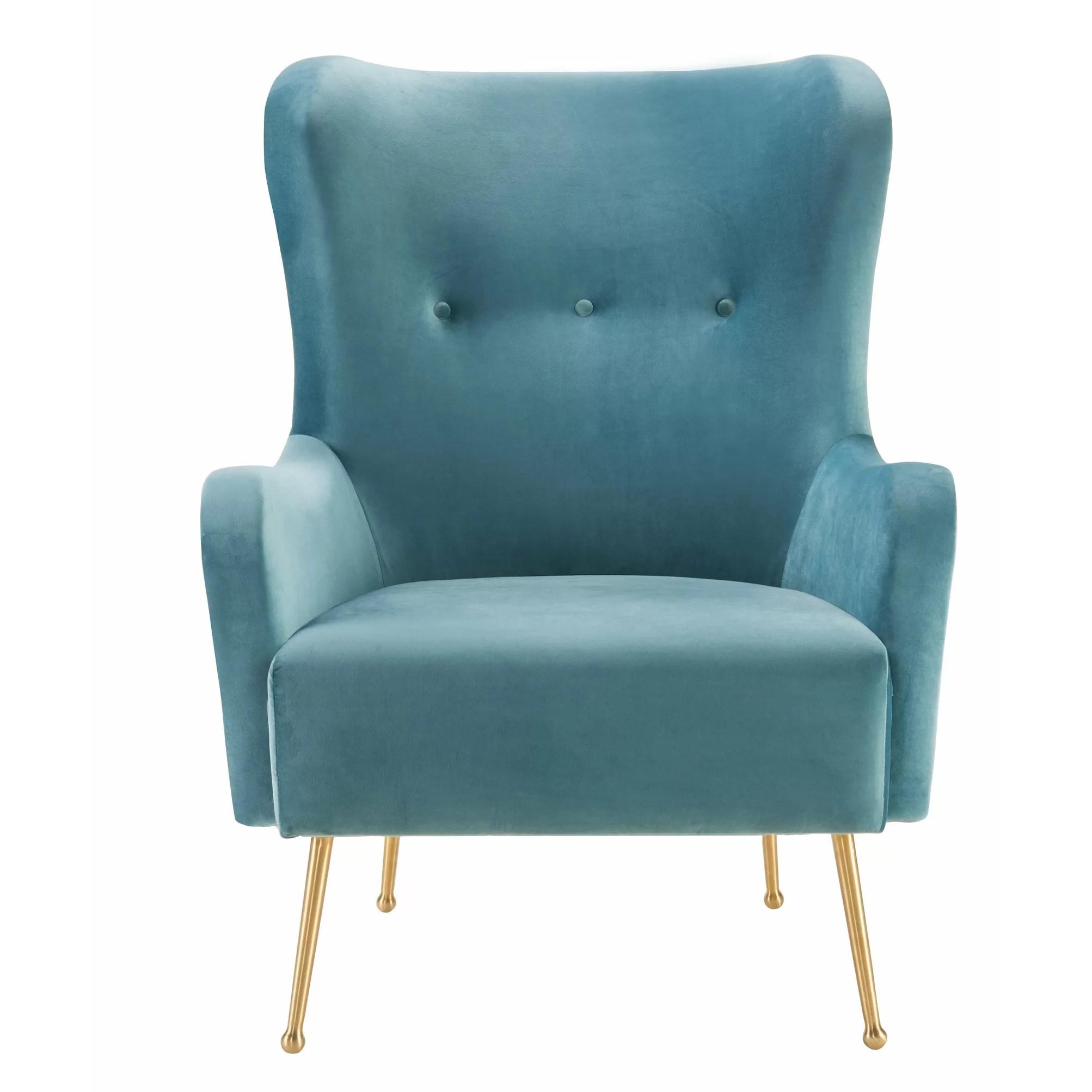 Mercer41 Tanzanite Velvet Wingback Chair  Wayfair
