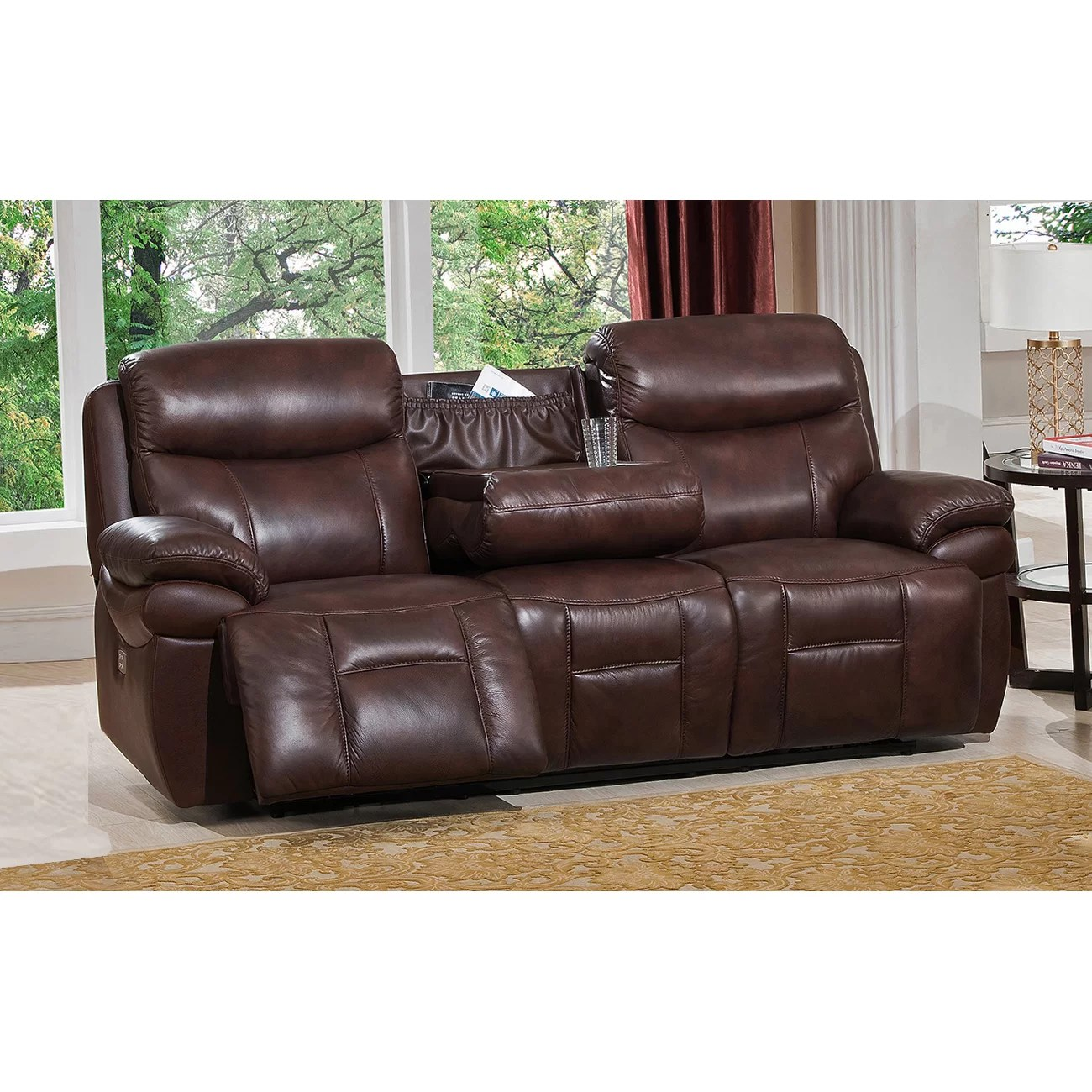 futura leather and vinyl power reclining sofa with headrest in stone big sofas uk living room sets