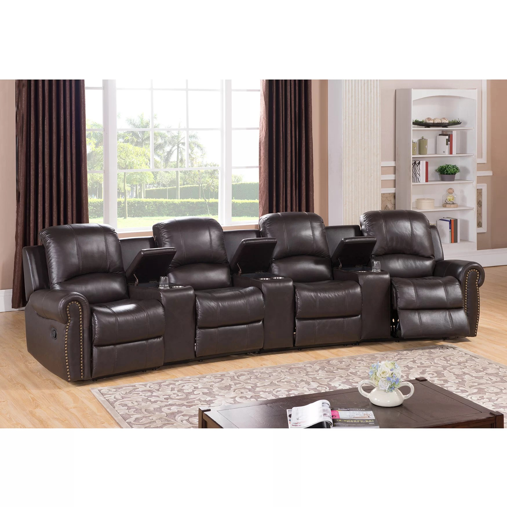 theater recliner chairs garden chair accessories amax bloomington leather 4 seat home theatre