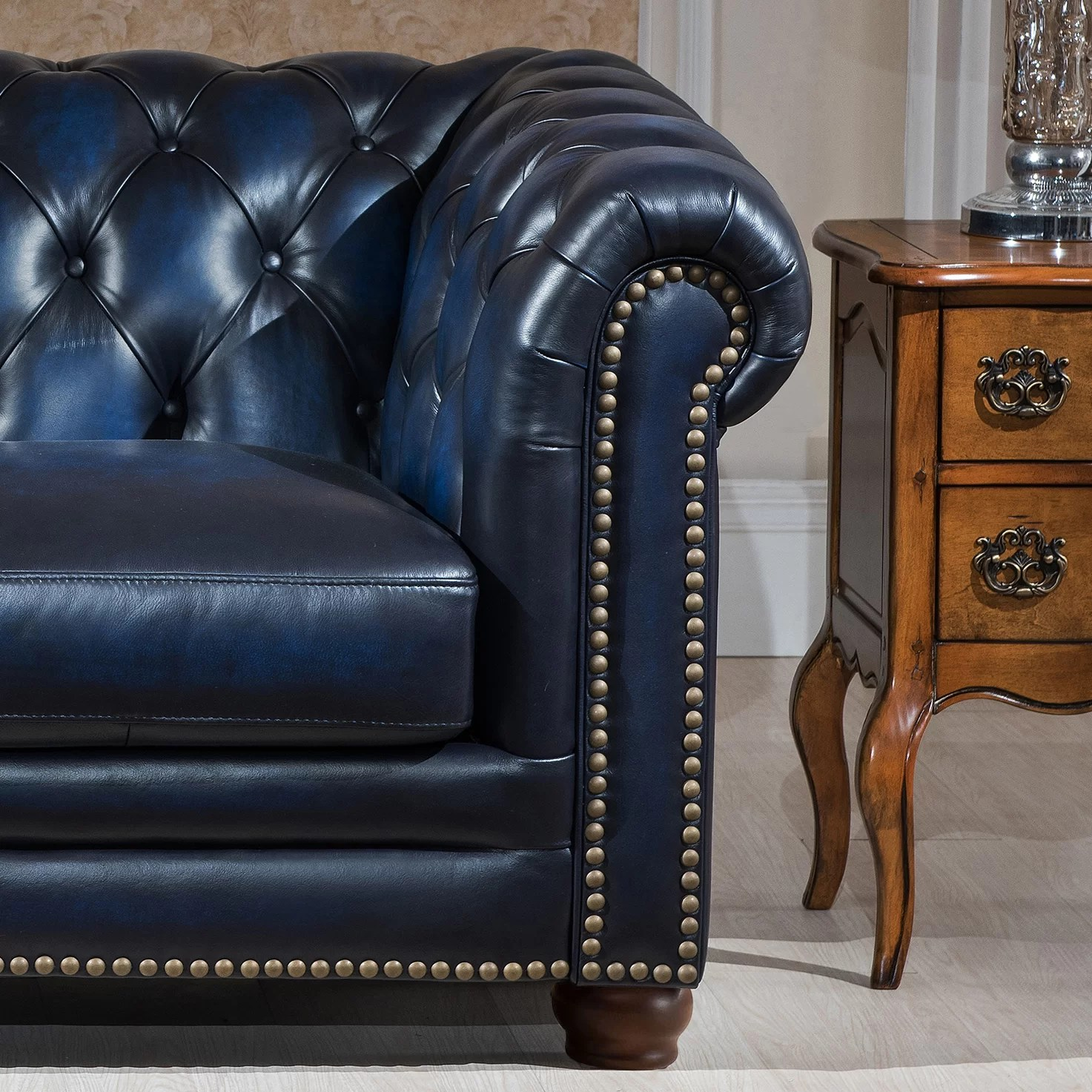 genuine leather chair bar height table and chairs walmart amax nebraska chesterfield sofa loveseat