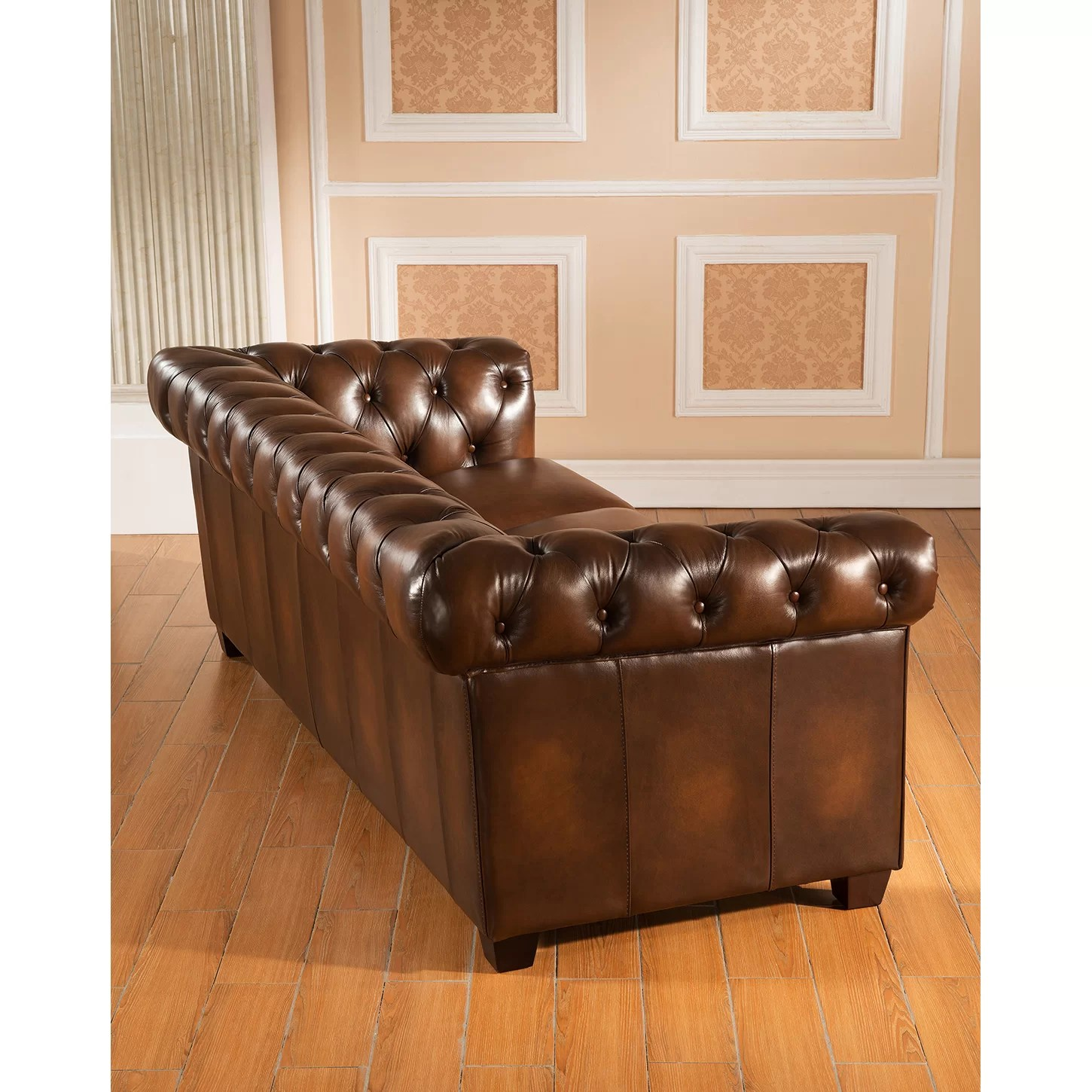 genuine leather sofa and loveseat 100 top grain italian amax hickory chesterfield