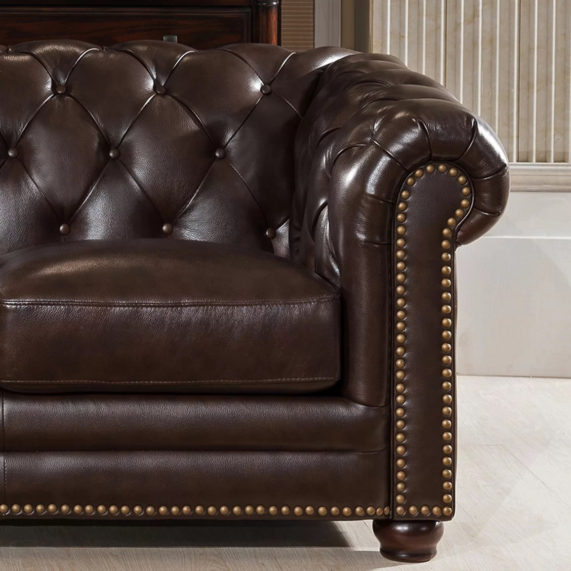 Best Leather Chairs Amax Kensington Top Grain Leather Chesterfield Sofa And