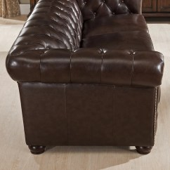 Kensington Leather Chair Folding With Canopy Walmart Amax Top Grain Chesterfield Sofa And