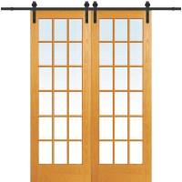 Verona Home Design Wood 2-Panel Natural Interior Barn Door ...