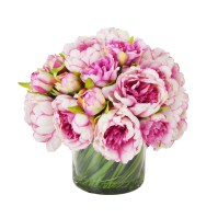 The Holiday Aisle Faux Magenta & Pink Peony in Glass Vase ...
