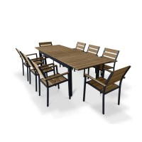 Urban Furnishings 9 Piece Extendable Outdoor Dining Set ...