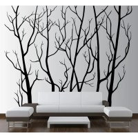 Innovative Stencils Tree Forest Branches with Birds Wall