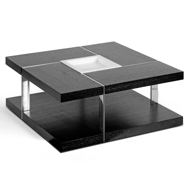 Black Square Coffee Table with Tray