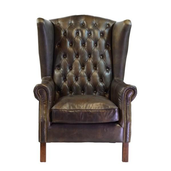 Joseph Allen World Antique Leather Wingback Chair
