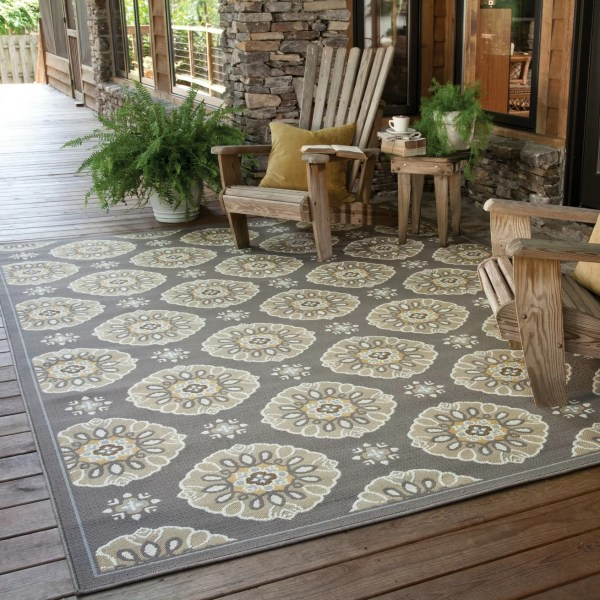 outdoor patio rug Threadbind Milltown Grey/Gold Indoor/Outdoor Area Rug & Reviews | Wayfair
