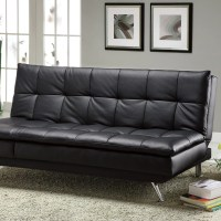 Latitude Run Black Faux Leather Sleeper Sofa & Reviews ...
