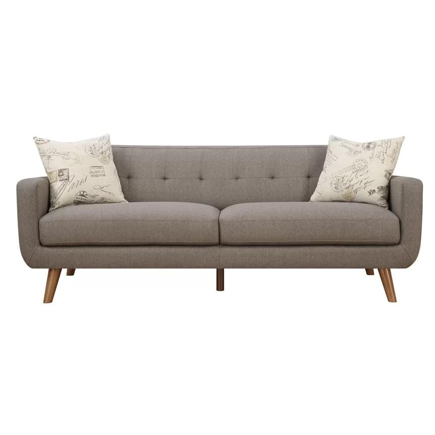 Latitude Run Mid Century Modern Sofa with accent pillows  Wayfair