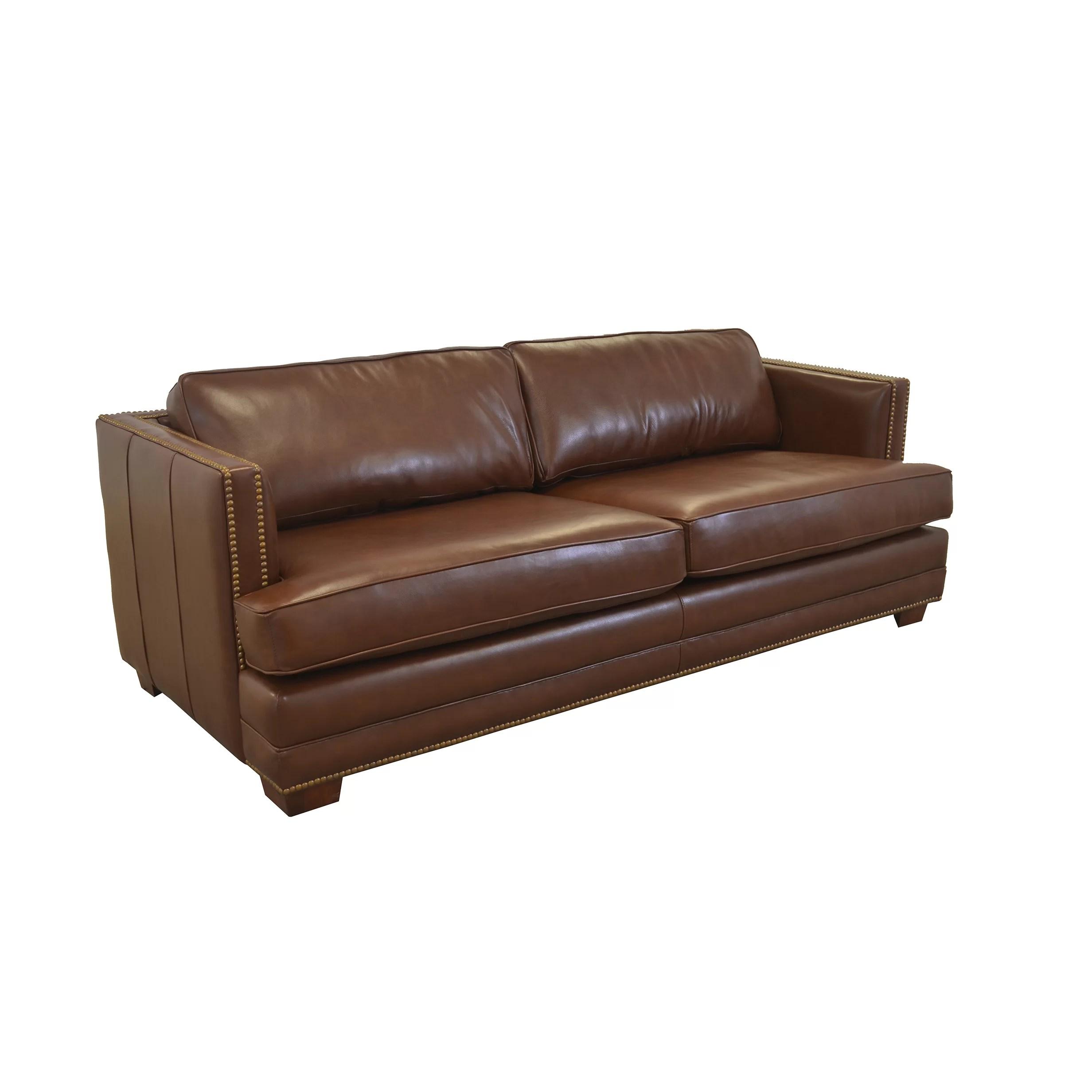 Westland and Birch Millbury Genuine Top Grain Leather Sofa