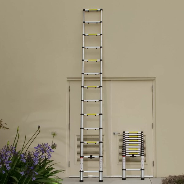 Oxgord 12.5 Ft Aluminum Telescoping Extension Ladder With 330 Lb. Load Capacity &