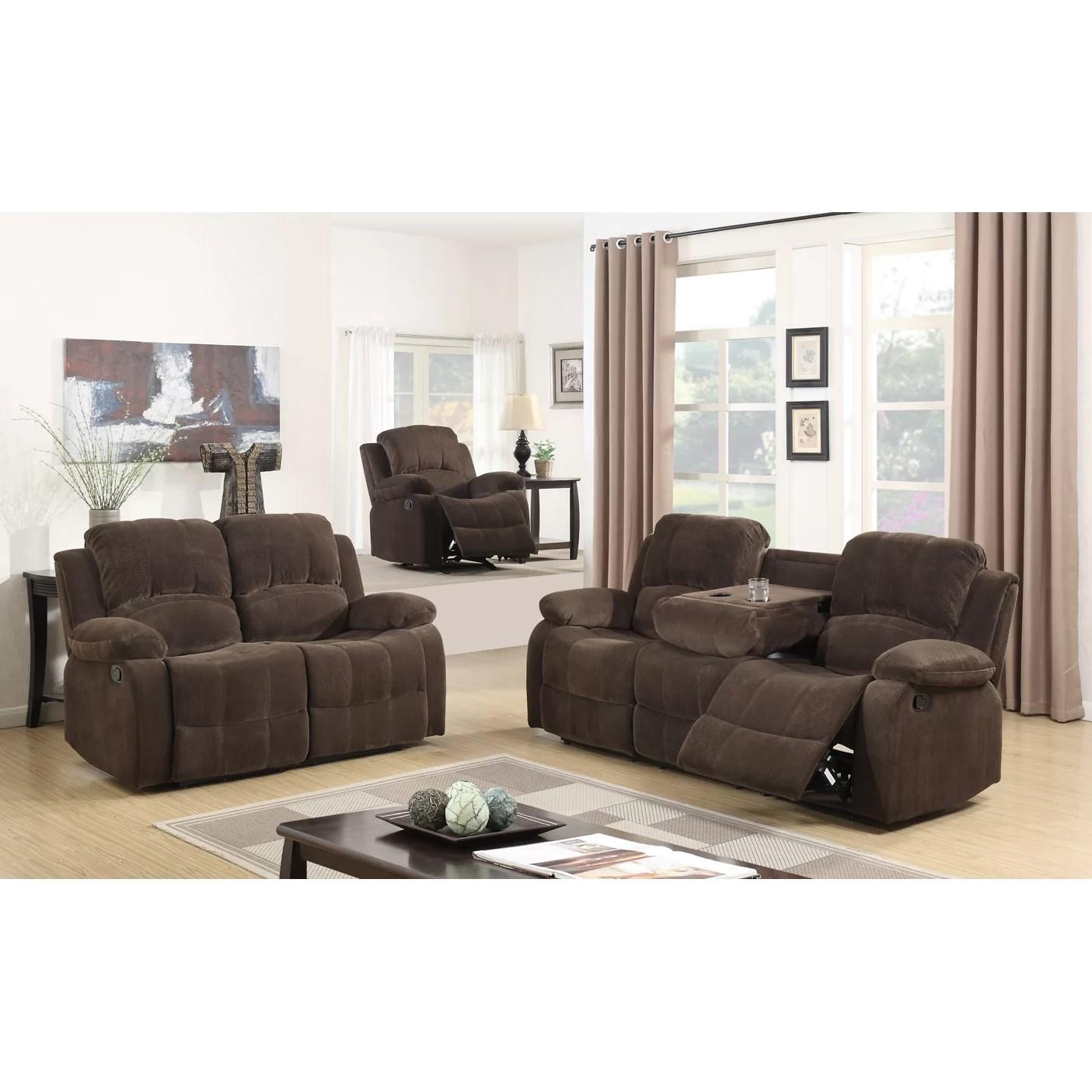Best Quality Furniture Fabric 3 Piece Recliner Living Room Set  Wayfair