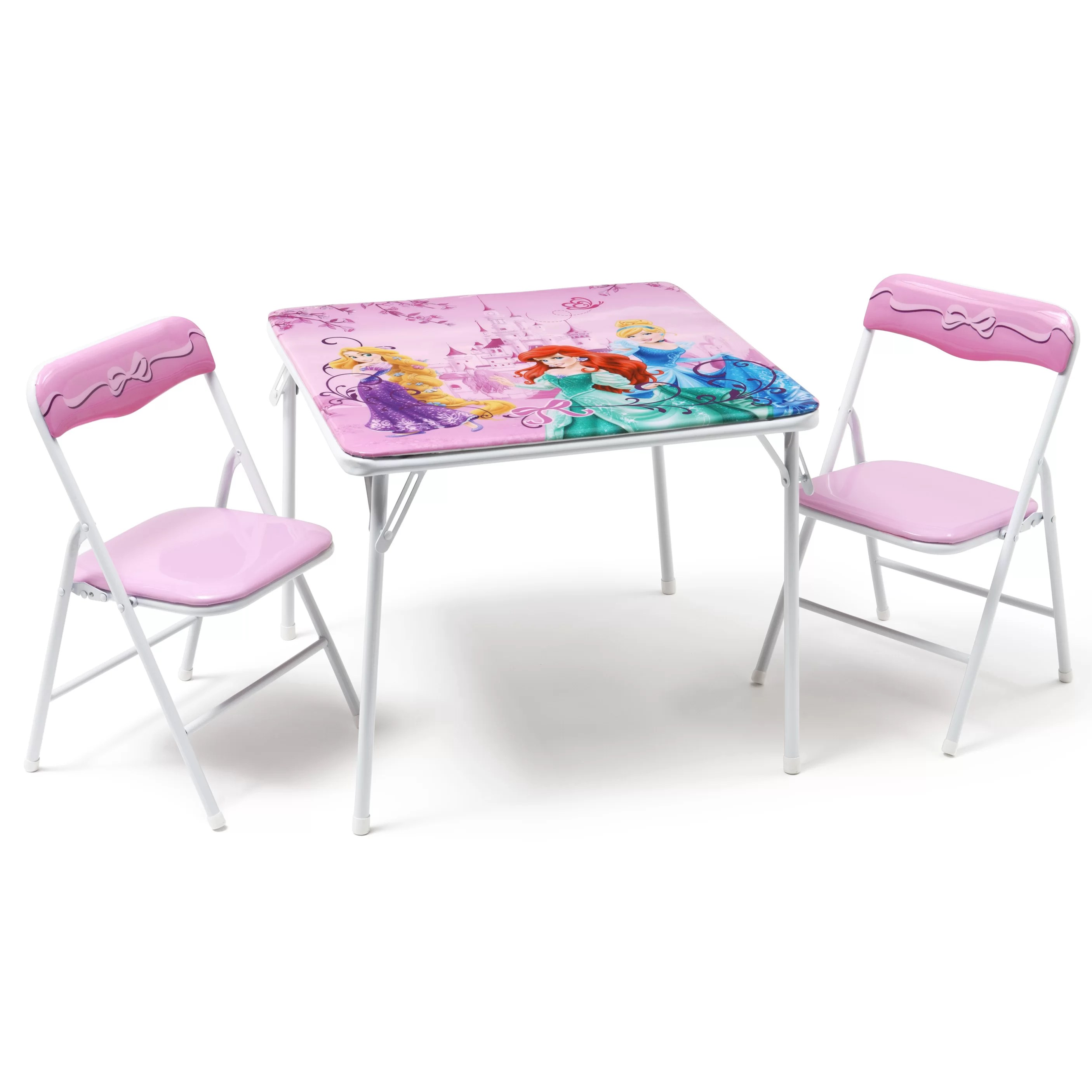 Folding Table And Chairs For Kids Deltachildren Princess Folding Children 3 Piece Square