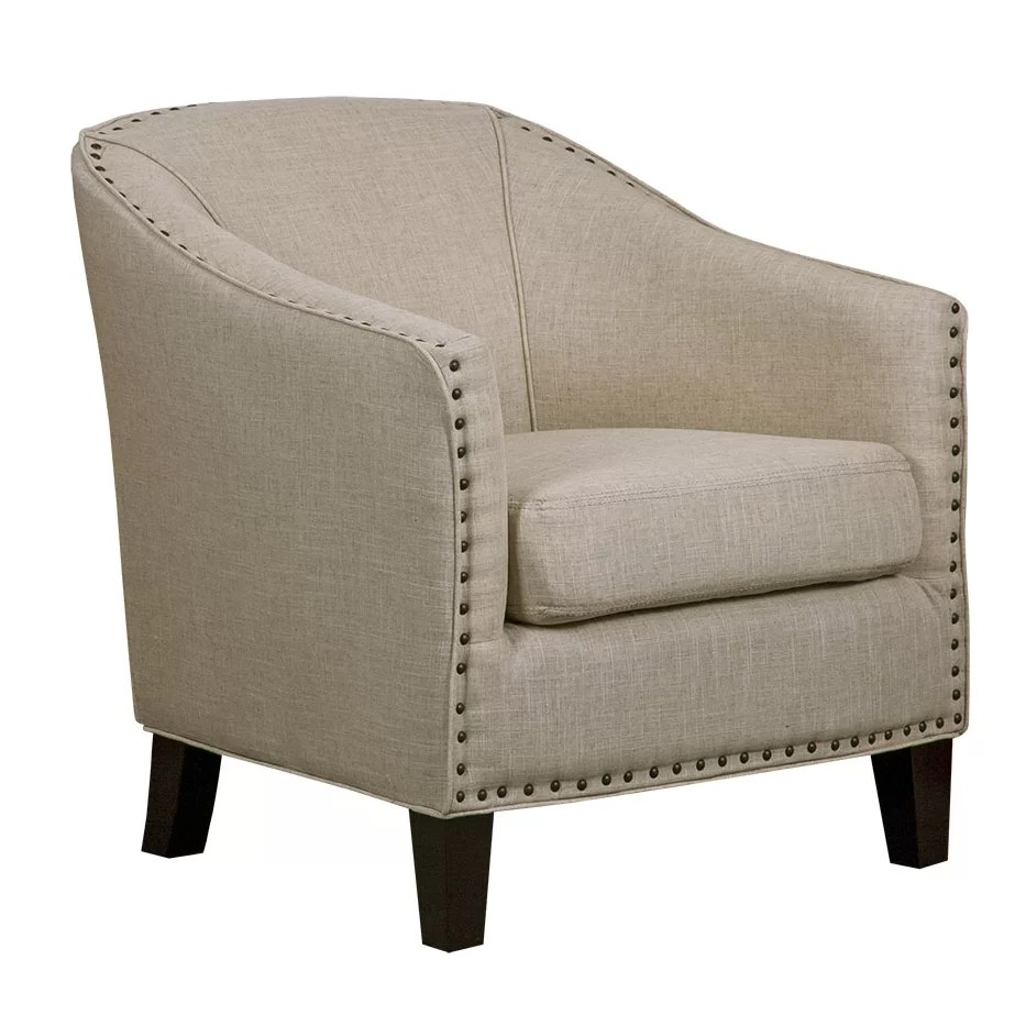 GraftonHome Grace White Linen Barrel Chair  Wayfairca