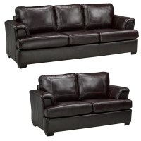 Coja Royal Cranberry Italian Leather Sofa and Loveseat Set ...