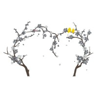The Decal Guru Cherry Blossom Heart Tree Wall Decal ...