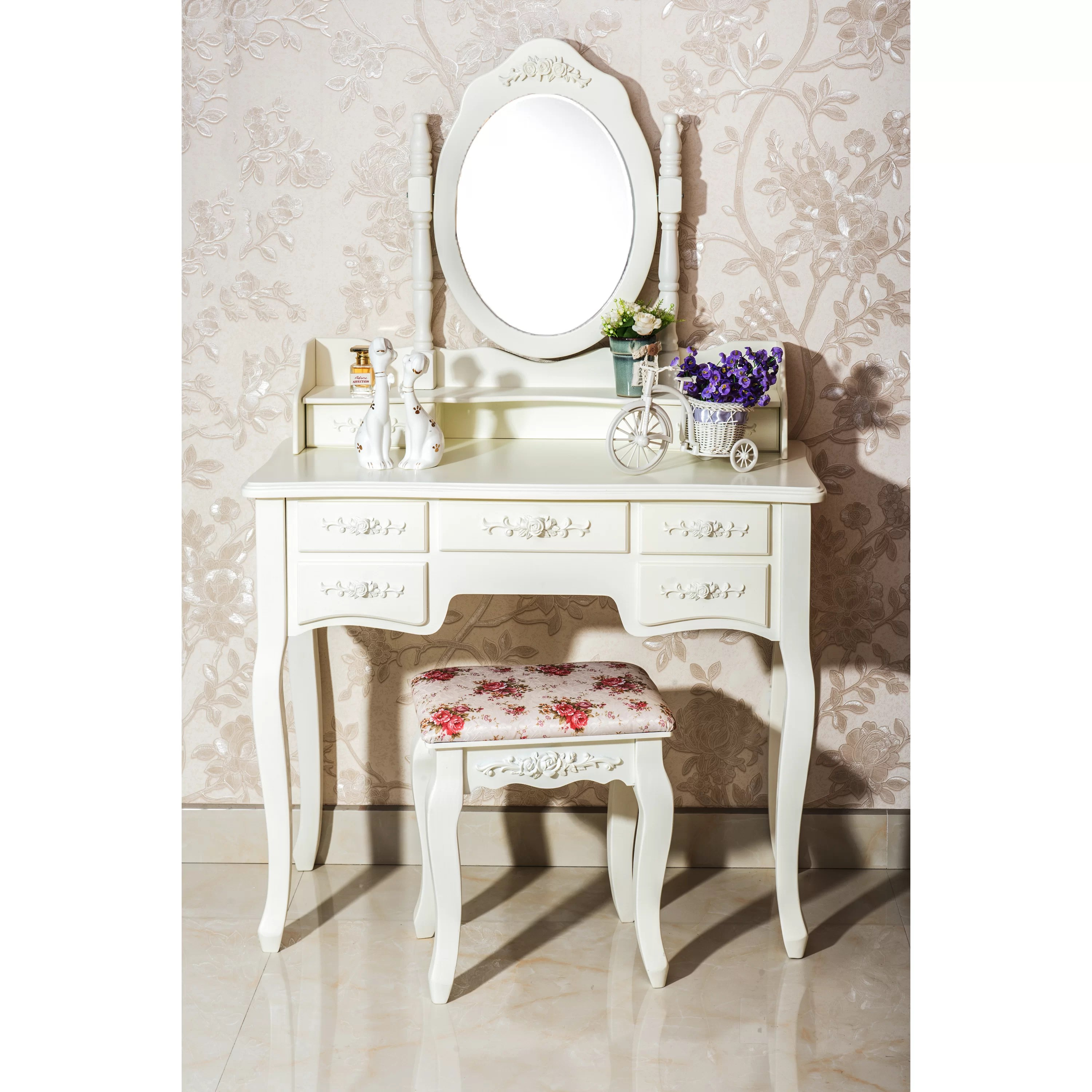 White Label Co Cleopatra 7 Drawer Vanity Set with Mirror