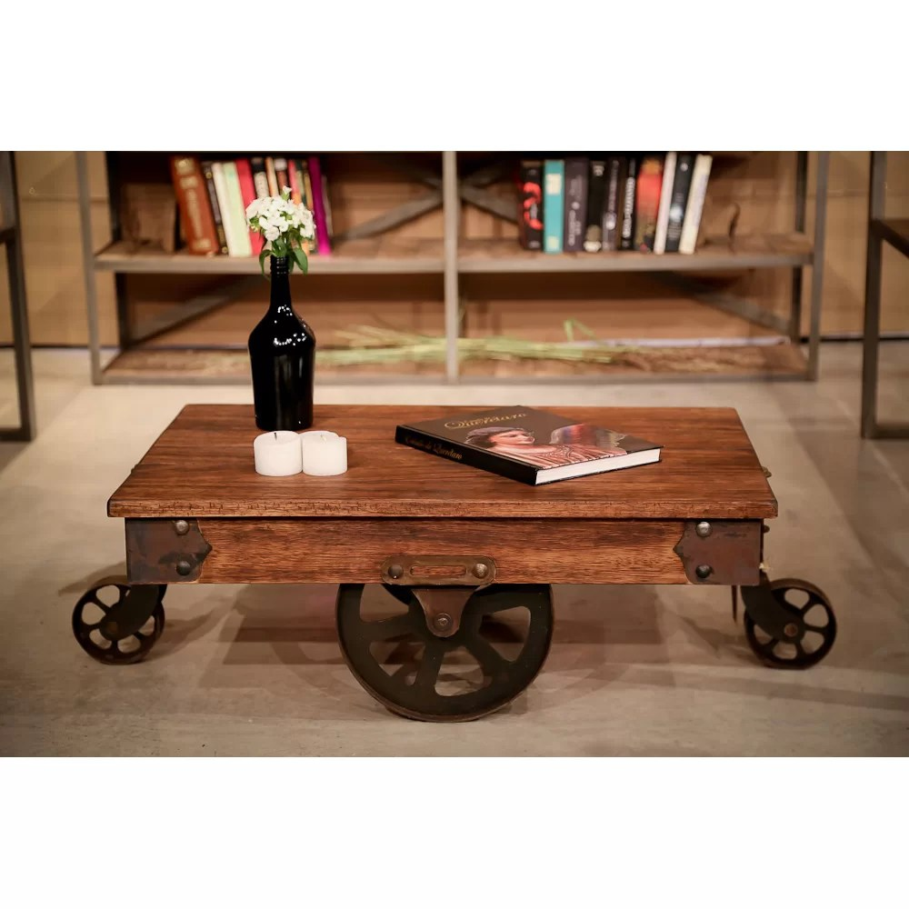 REZFurniture Vintage Center Coffee Table with Wheels