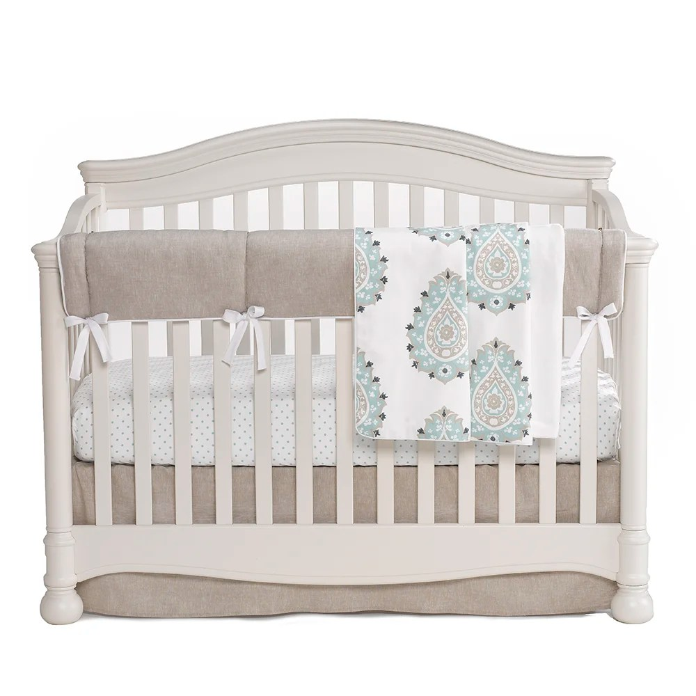 LizandRooFineBabyBedding Damask 3 Piece Crib Bedding Set