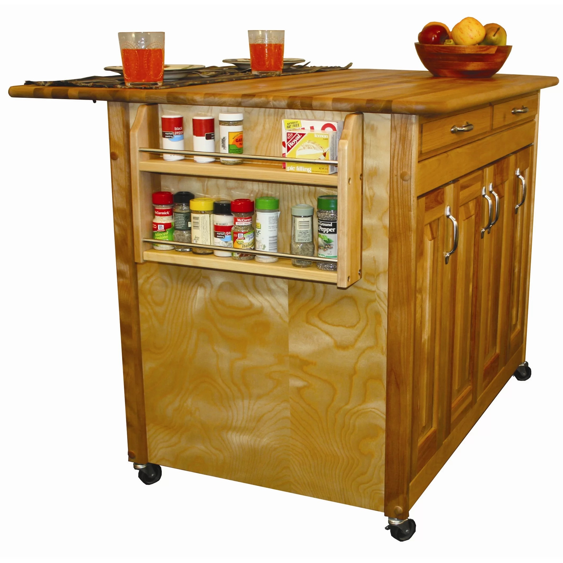 catskill craftsmen kitchen island pull out drawers with wood top and reviews