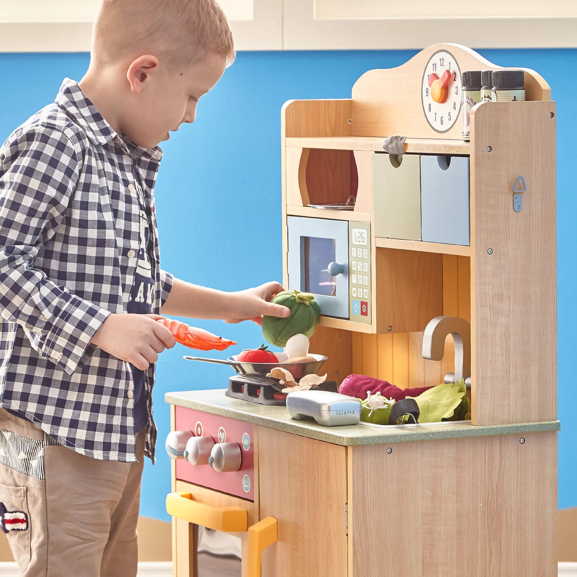 kids play kitchen accessories modern images teamson little chef wooden with