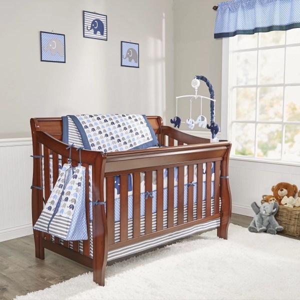 Bacati Elephants 10 Piece Crib Bedding Set &