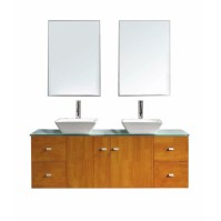 "Virtu Clarissa 61"" Double Bathroom Vanity Set with Glass"