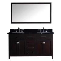 "Virtu Caroline 60"" Double Bathroom Vanity Set with Black ..."