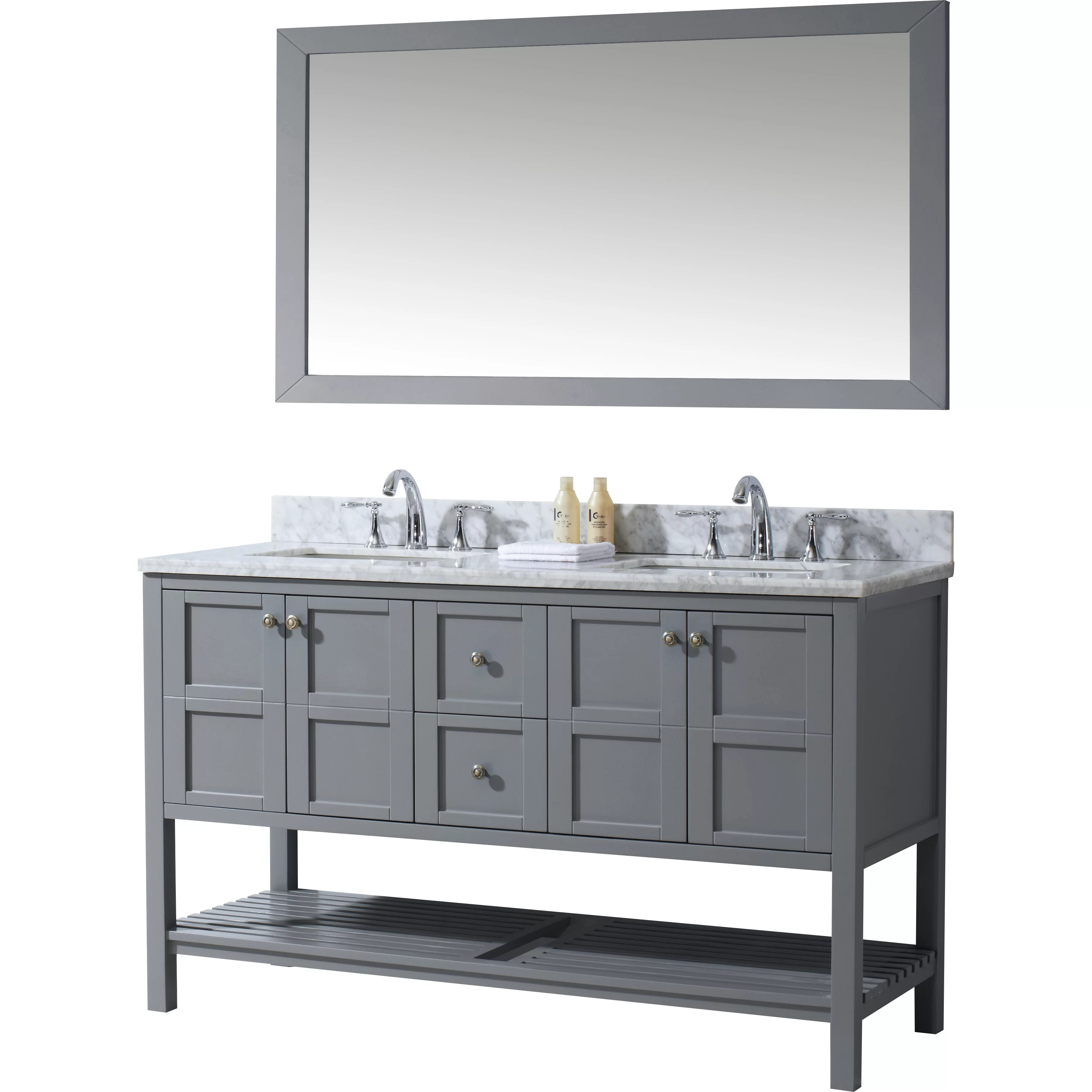Virtu Winterfell 60 Double Bathroom Vanity Set with White Carrara Top and Mirror  Reviews