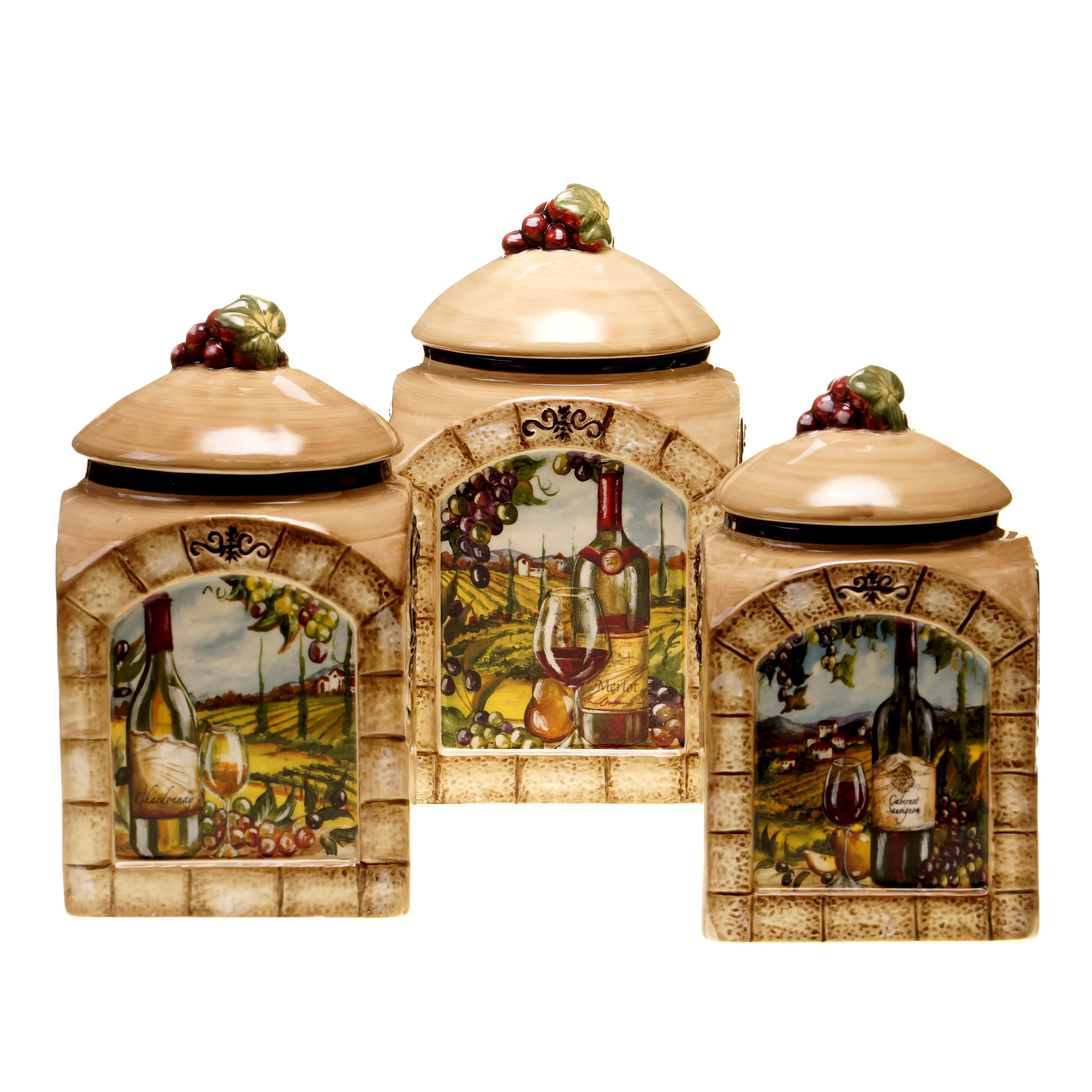 tuscan kitchen canisters cabinets lights certified international view 3 piece canister set