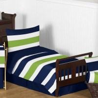 Sweet Jojo Designs Navy Blue and Lime Green Stripe 5 Piece ...
