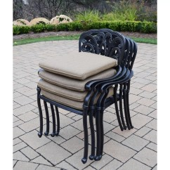 Stackable Metal Patio Chairs White Fabric Chair Oakland Living Hampton Dining Arm With