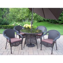 Oakland Living Elite Resin Wicker 5 Piece Dining Set With