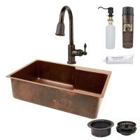 """Premier Copper Products 33"""" x 22"""" Hammered Single Basin ..."""
