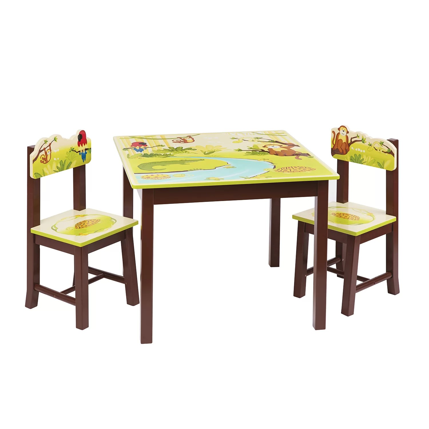 childrens table and chairs modern leather swivel lounge chair guidecraft jungle party kids 3 piece rectangle
