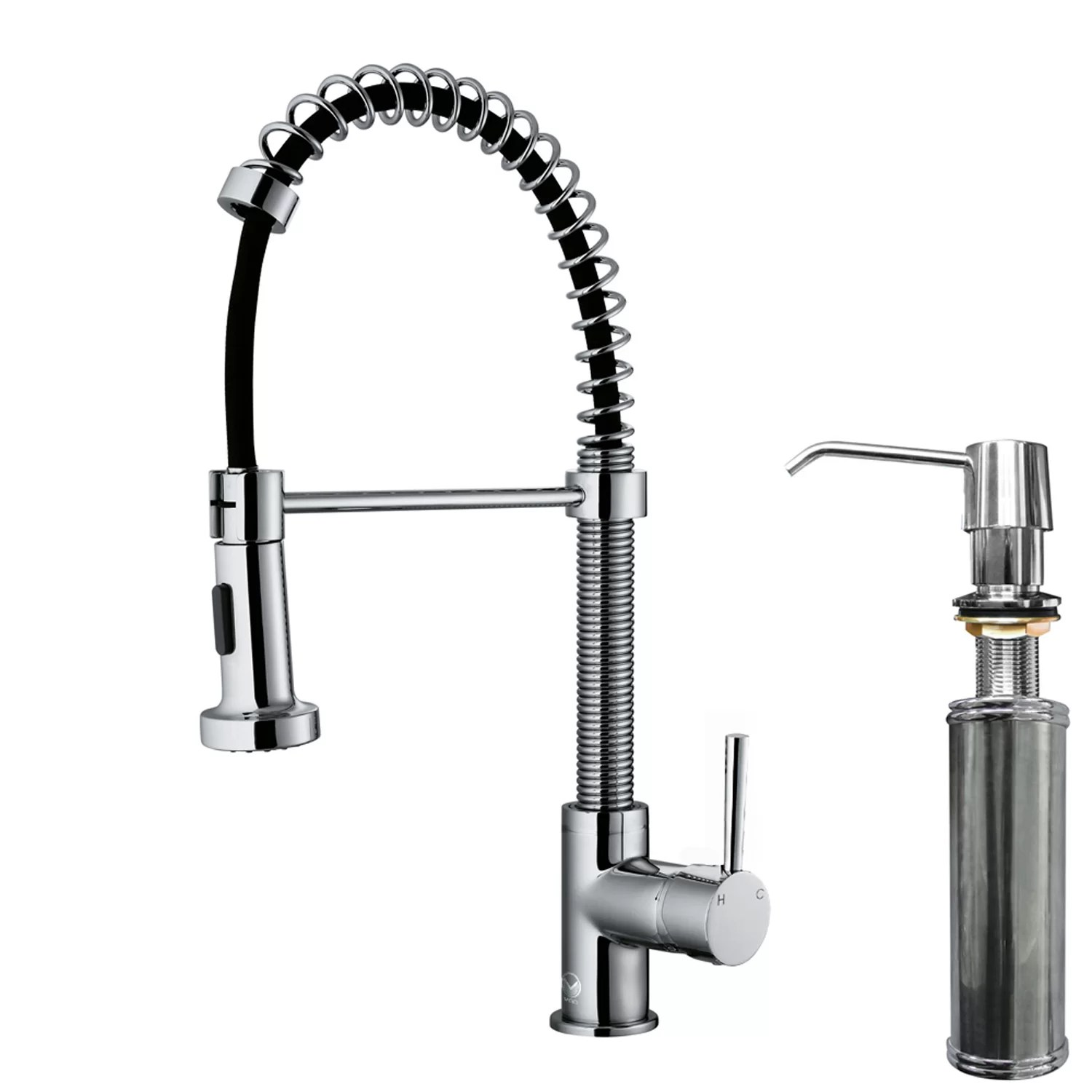 single hole kitchen faucet with pull out spray for office vigo edison handle down
