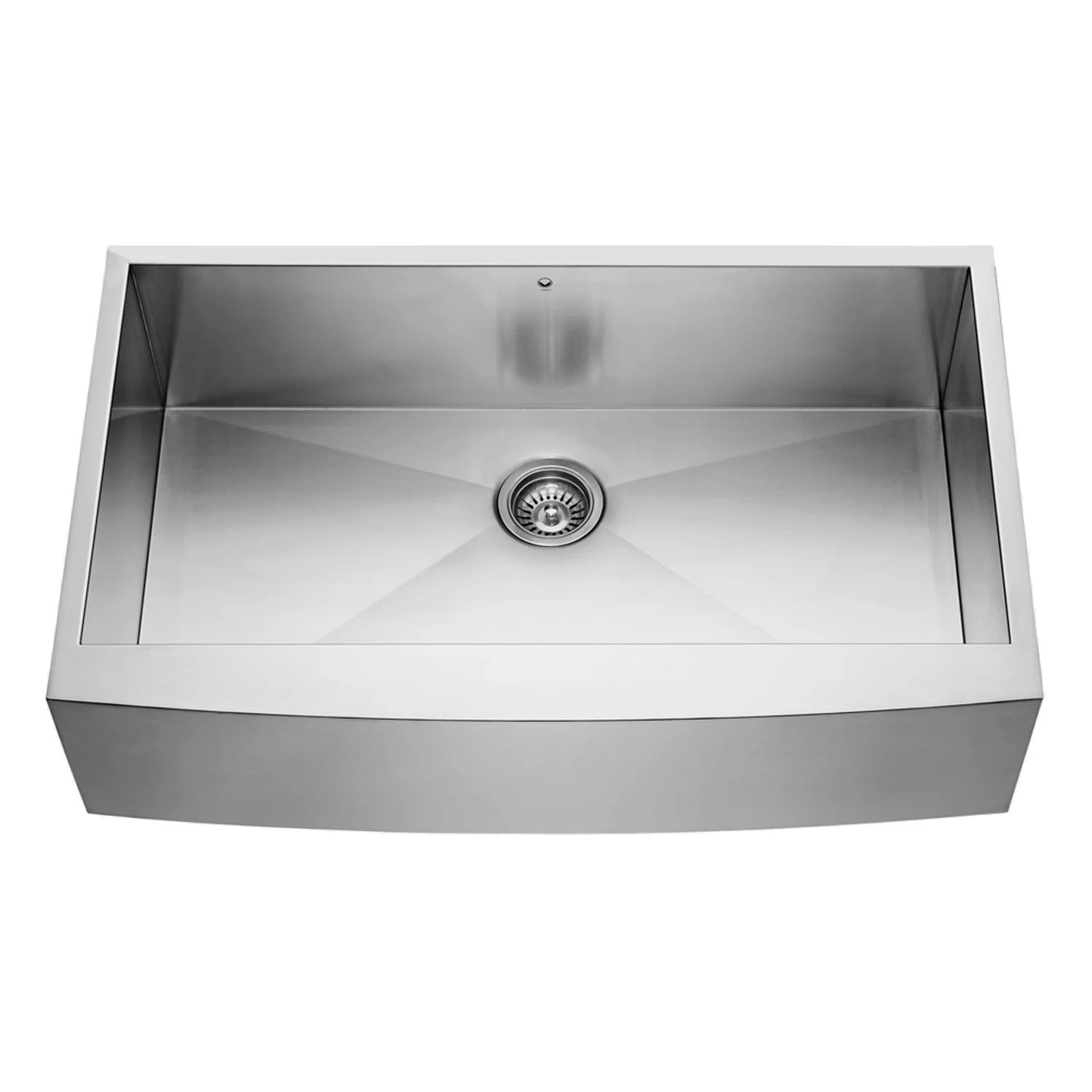 stainless steel kitchen sink reviews used commercial equipment chicago vigo 36 inch farmhouse apron single bowl 16 gauge