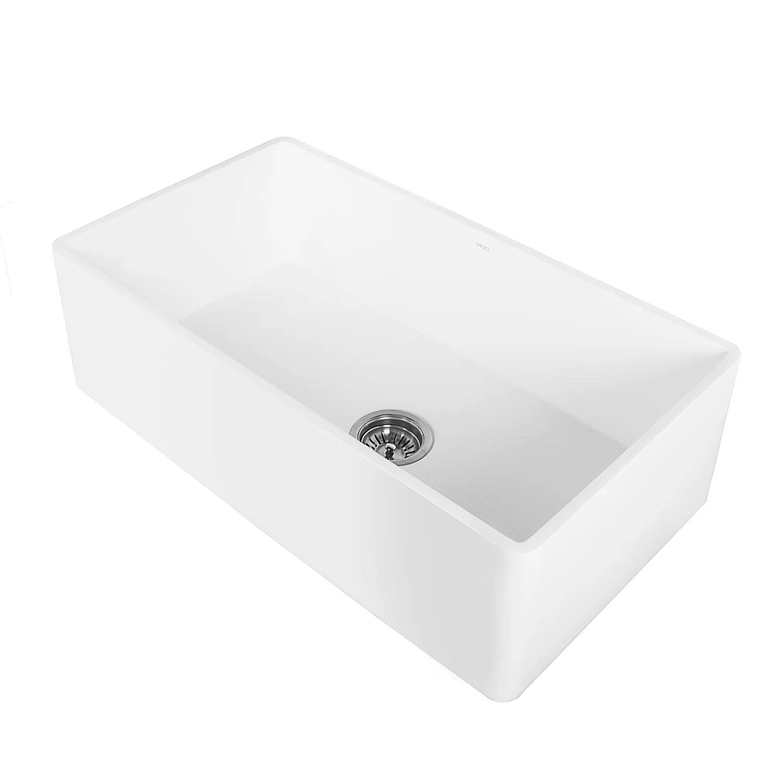 30 inch kitchen sink marine cabinets vigo farmhouse apron single bowl matte stone