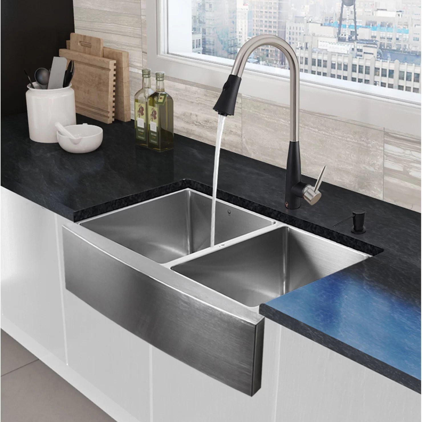 stainless steel farmhouse kitchen sink cabinet granite top vigo 33 quot x 22 25 apron 60 40 double bowl 16