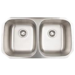 Stainless Steel Kitchen Sinks Undermount Cabinet Refacing Ideas Vigo 32 Inch 50 Double Bowl 18 Gauge