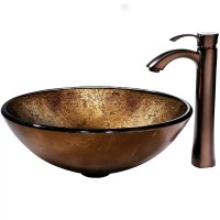 Vigo Russet Glass Vessel Bathroom Sink and Otis Vessel